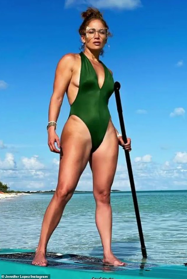 Beach Body: On Monday, Jane posted a photo of her swimsuit from the Turks and Caicos Trip to Instagram.  Pictured, she showed off her gym-charged physique as she stood on a paddleboard