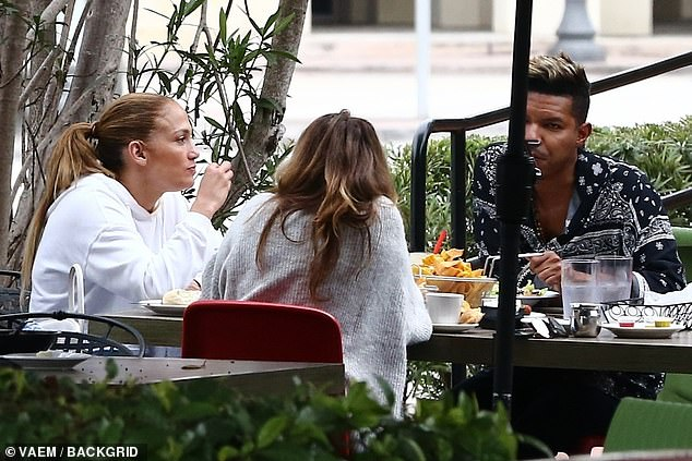 Lunch: Lopez and her friends sat at an outdoor table, away from other diners